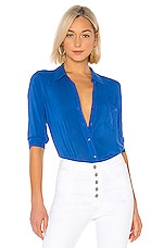 L'AGENCE Ryan 3/4 Sleeve Blouse in Riviera Blue
