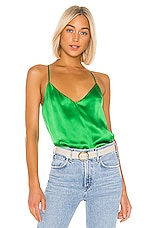 L'AGENCE Kylee Racer Tank in Gloss Green