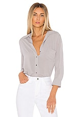 L'AGENCE Ryan 3/4 Sleeve Blouse in Pearl Grey