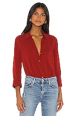 L'AGENCE Ryan 3/4 Sleeve Blouse in Redstone