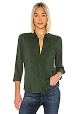 L'AGENCE Ryan 3/4 Sleeve Blouse in Dark Green