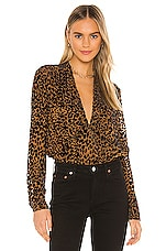 L'AGENCE Lydia Drape Front Blouse in Black & Nude Combo