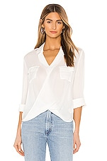 L'AGENCE Phoenix Front Wrap Tunic Blouse in Ivory