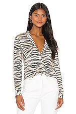 L'AGENCE Holly Long Sleeve Blouse in Coconut Husk
