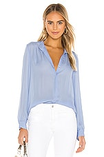 L'AGENCE Bianca Band Collar Blouse in Seaside Blue
