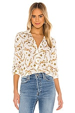 L'AGENCE Holly Long Sleeve Blouse in Ivory & Gold