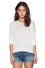 Open V Slit Back Pullover in White