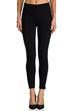 Solid Ponte Paneled Legging in Black