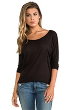 Micromodal Dropped Shoulder Top en Noir