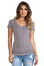 Tissue Jersey V-Neck Pocket Tee in Chateau Grey
