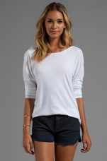 Long Sleeve Open Back Tee in White