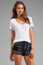 Rolled-Up Open Neck Tee in White