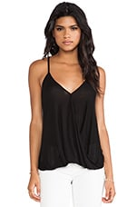 Hi-Low Wrap Top in Black