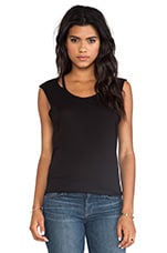 Slit Neck Tee in Black