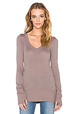TOP MANCHES LONGUES SLUB JERSEY LONG SLEEVE V NECK TOP