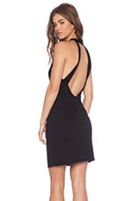 Open Back Mock Neck Dress in Black