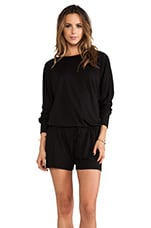 Lanston French Terry BF Romper in Black