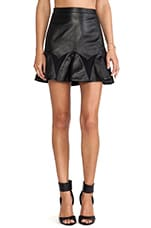 by David Helwani Audrey Leather Skirt in Black/Black