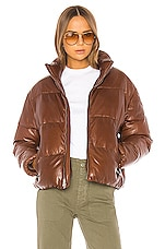 LAMARQUE Iris Leather Jacket in Dark Cognac