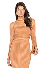 High Neck Wrap Around Top in Camel