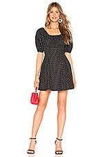 L'Academie The Andrea Mini Dress in Black Mini Dot