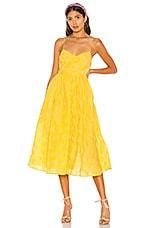 L'Academie The Marie Midi Dress in Lemon Yellow