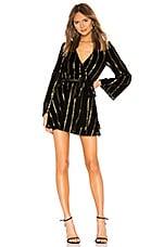 L'Academie The Wrap Mini Dress in Black & Gold Stripe