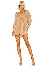 L'Academie The Bernadette Mini Dress in Honey Brown
