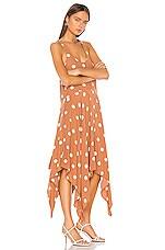 L'Academie The Leona Midi Dress in Rust & Ivory Dot
