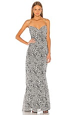L'Academie The Rosalie Maxi Dress in Black Mixed Animal