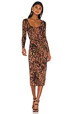 L'Academie The Nancy Midi Dress in Jungle Animal