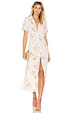 L'Academie The Maxi Shirt Dress in Peach Floral