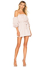 L'Academie The Puff Sleeve Dress in Taupe Gingham