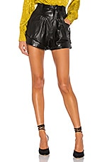L'Academie Savon Leather Shorts in Black