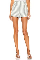 L'Academie The Adam Short in Green & White Stripe