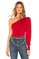 L'Academie The One Shoulder Sweater in Red