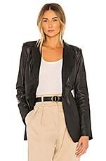 L'Academie Carmen Leather Blazer in Black
