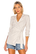 L'Academie The Marcel Blazer in Beige & Navy Stripe
