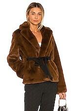 L'Academie The Macee Faux Fur Coat in Brown