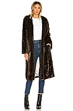 L'Academie The Fleurette Faux Fur Coat in Brown