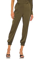 L'Academie The Reina Crop Pant in Olive Green