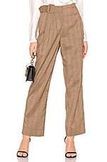 L'Academie The Peggy Pant in Brown Plaid