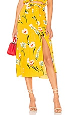L'Academie The Andres Midi Skirt in Yellow Meadow Floral