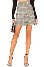 L'Academie The Lexi Mini Skirt in Grey Plaid
