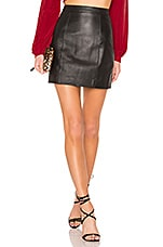 L'Academie The Leather Mini Skirt in Black