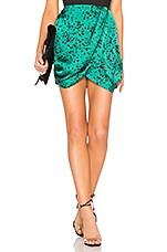 L'Academie The Jenny Mini Skirt in Jade Dalmatian