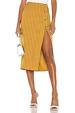 L'Academie The Lisa Midi Skirt in Mustard & White
