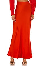 L'Academie The Nadaleine Maxi Skirt in Fiery Red