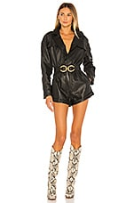 L'Academie Nova Leather Romper in Black