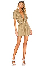 L'Academie The Leo Romper in Olive Green